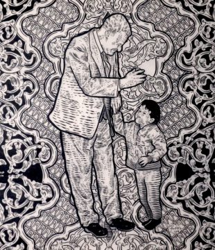 GovernmentNasser-and-child-paintbrush-and-ink-on-drafting-film-2018-40cm-by-40cm 3
