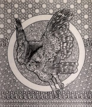Owl-Roadkill-pantbrush-and-ink-on-drafting-film-2018-40cm-by-44cm 3